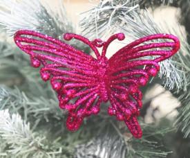 Decoratiune Fluture fuchsia