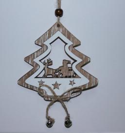 Decoratiune bradut din lemn cu clopotei