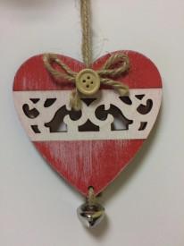 Decoratiune Inimioara din lemn alb-rosu cu clopotel