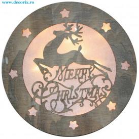 Decoratiune Ren lemn Merry Christmas