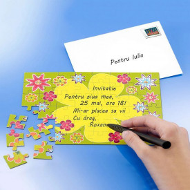 Invitatie puzzle flori + plic