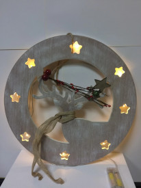 Decoratiune Ren din lemn + led