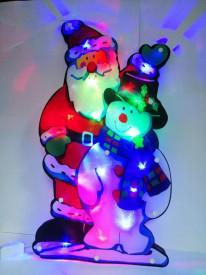 Mos Craciun cu om de zapada decoratiune LED