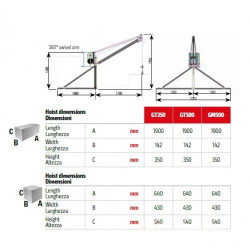 IORI-GT350-50m Electropalan Profesional TIP MACARA 500 kg, trifazat, 40 metri cablu