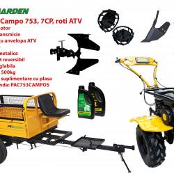 Pachet motocultor Campo 753, benzina, 7CP, 2+1 trepte, roti ATV, remorca 500kg, accesorii PR2, ulei motor si transmisie incluse