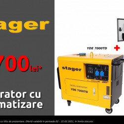 Stager Generator insonorizat diesel monofazat 4.2kVA, 18A +automatizare YA40063 inclusa