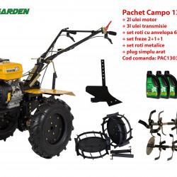 Pachet motocultor Campo 1303, benzina, 13CP, 2+1 trepte, accesorii, ulei motor si transmisie incluse