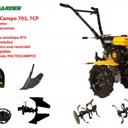 Pachet motocultor Campo 753, benzina, 7CP, 2+1 trepte, roti ATV, accesorii PR2, ulei motor si transmisie incluse