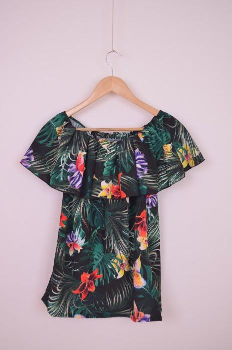 Bluza de dama cu imprimeu viu colorat, engros