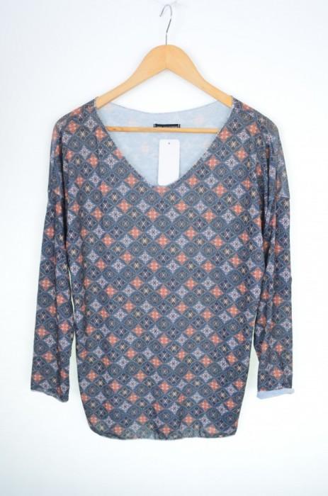 Bluza dama cu imprimeu colorat romburi, engros