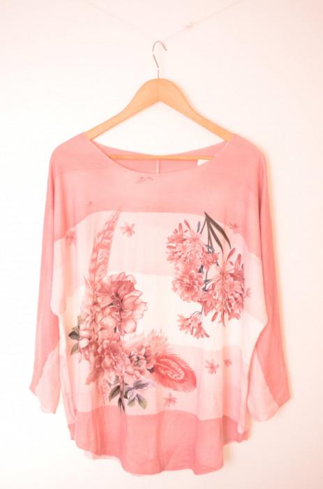 Bluza roz pal de dama cu imprimeu, engros