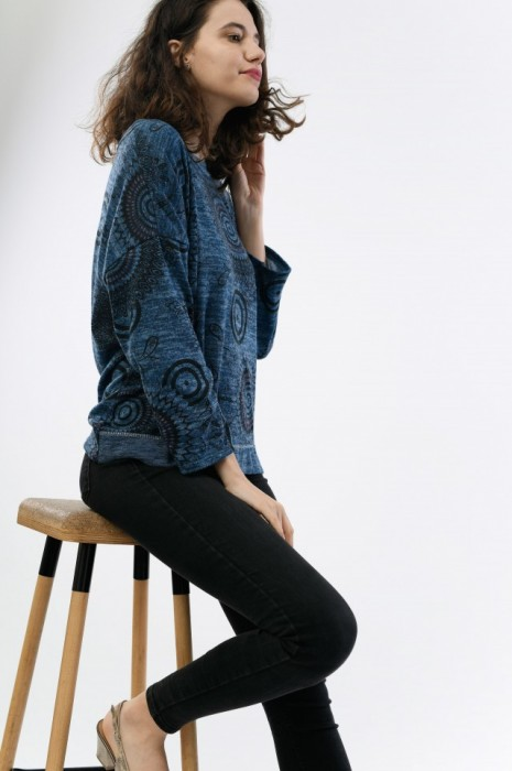Bluza de dama cu imprimeu cercuri, engros