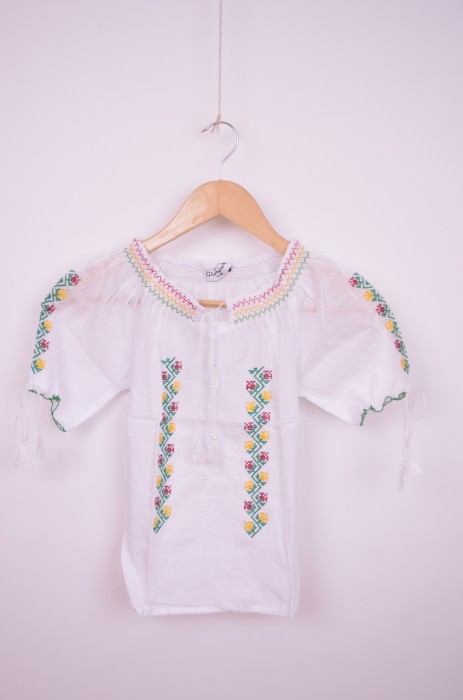 Bluza traditionala engros de fetite cu broderie verde si galben