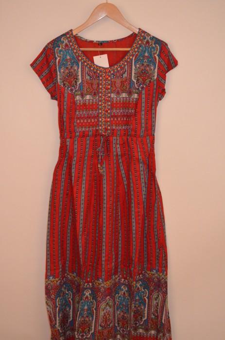 Rochie lunga cu imprimeu colorat, engros