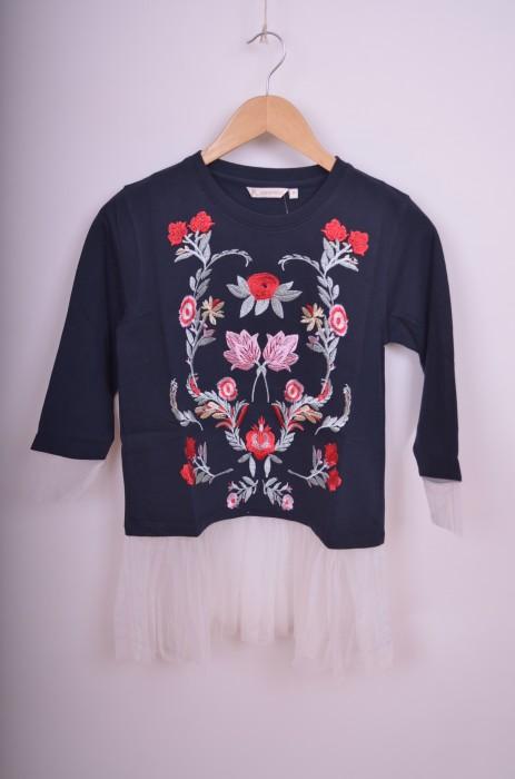 Bluza de dama cu detaliu broderie cu tulle, engros