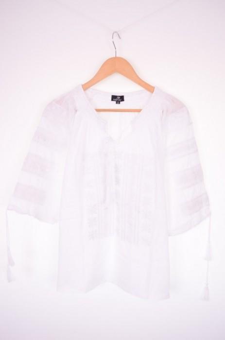 Bluza traditionala dama, maneca trei sferturi, cu broderie alba