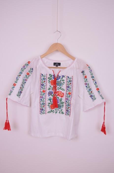 Bluza de fetite, traditionala, cu broderie florala colorata, engros