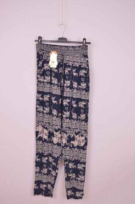 Pantaloni lungi de dama, cu imprimeu elefanti, engros