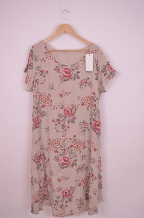 Rochie din in dublata, cu imprimeu floral, engros