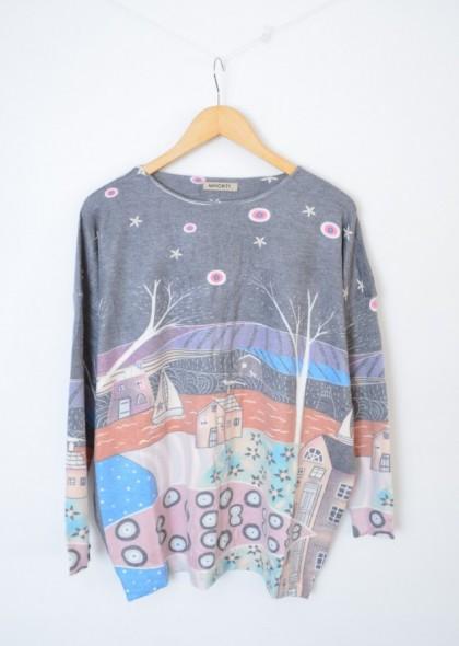 Pulover dama, tricot fin, imprimeu colorat peisaj iarna, engros