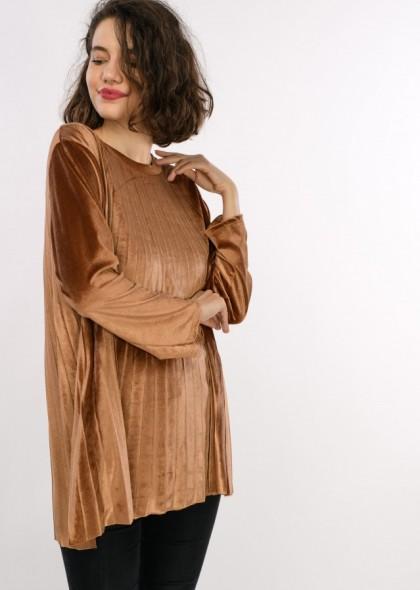 Bluza de dama in pliuri, din catifea, engros