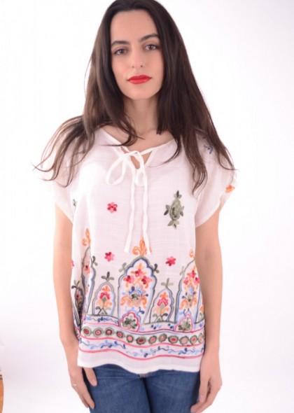 Bluza dama cu broderie colorata, engros