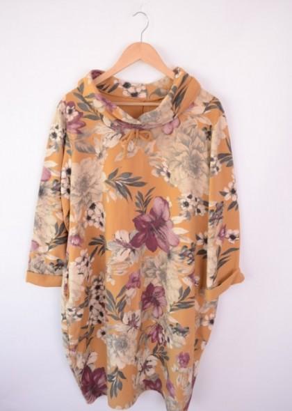 Rochie cu guler, imprimeu floral, engros