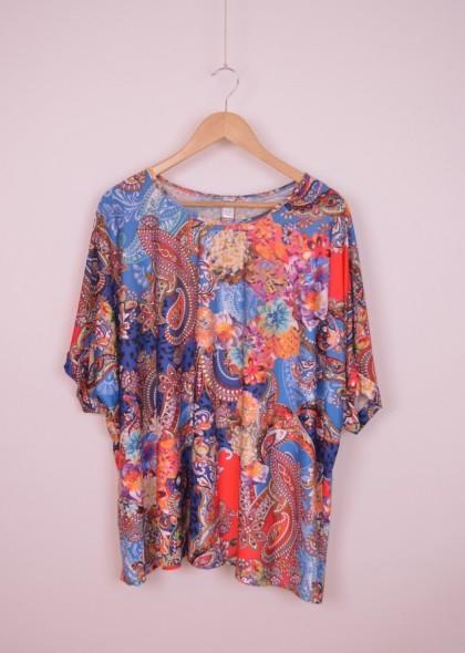 Bluza de dama, marime unica, cu imprimeu vesel colorat, engros