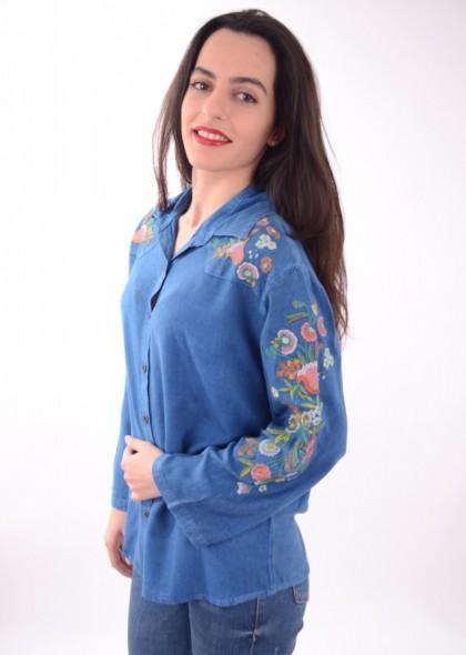 Camasa dama culoarea navy, cu broderie colorata