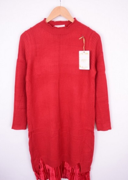 Rochie cu detaliu catifea plisata in partea de jos, engros
