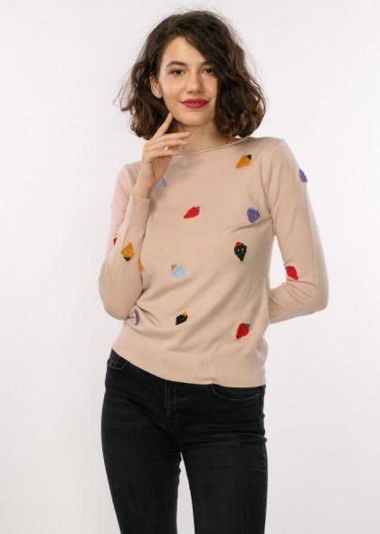 Pulover dama, cu broderie capsuni colorate, engros