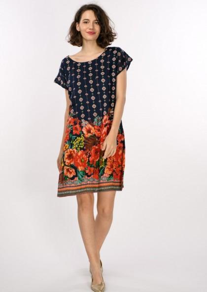 Rochie dublata cu imprimeu floral, engros
