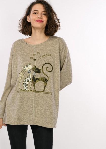 Bluza de dama cu imprimeu pisici, engros