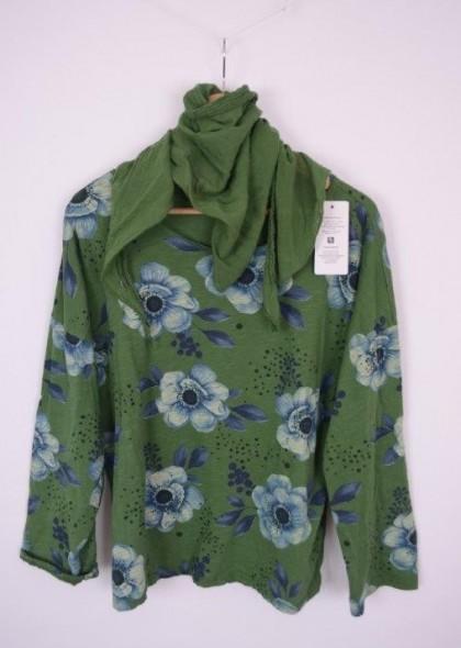 Bluza imprimateu floral, cu esarfa, engros