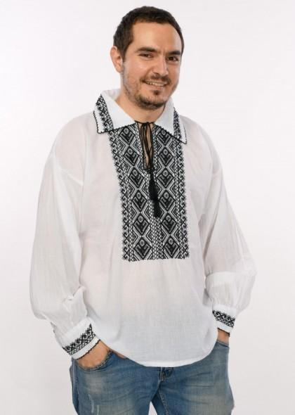 Bluza de barbati traditionala, cu broderie cusuta, engros