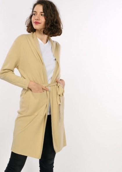 Jacheta lunga tricot, cu cordon, de dama, engros