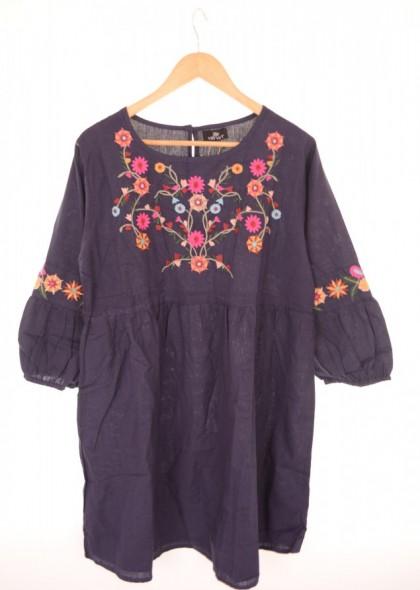 Rochie cu broderie florala colorata, engros