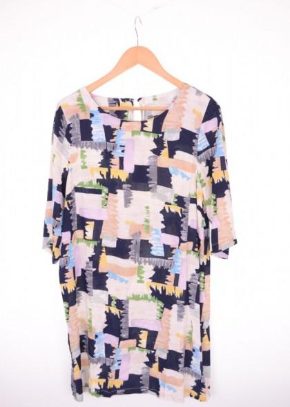 Rochie din vascoza, cu imprimeu colorat, engros