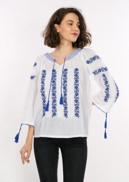 Bluza traditionala de dama, cu broderie, maneca lunga, engros