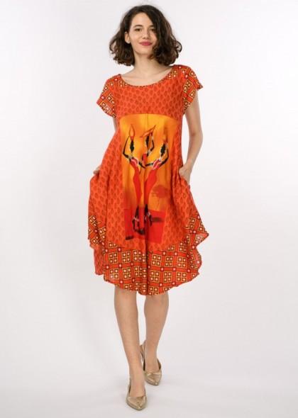 Rochie tip umbrela cu imprimeu colorat, engros