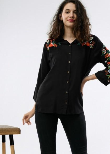 Camasa dama culoarea negru, cu broderie colorata