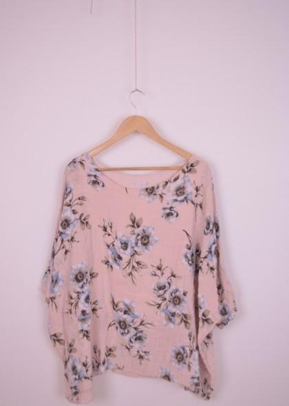 Bluza de dama, dublata, din in, cu imprimeu floral, engros