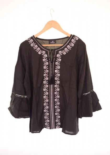 Bluza neagra de dama, cu broderie argintie, engros