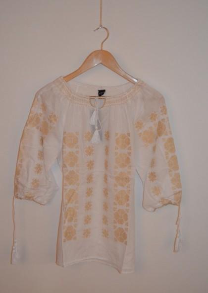 Bluza traditionala de dama, cu broderie aurie, engros