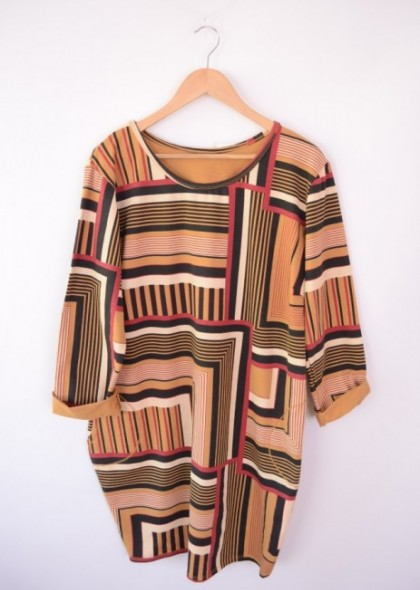 Rochie cu imprimeu geometric colorat, engros