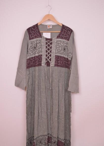 Rochie din vascoza, cu maneca lunga, engros