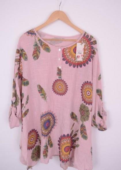 Bluza de dama cu imprimeu floral, marime mare, engros