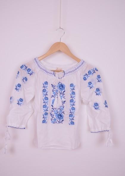 Bluza traditionala de fetita, cu broderie albastra, engros