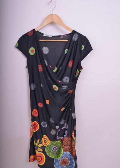 Rochie maneca scurta, cu imprimeu cercuri colorate, engros
