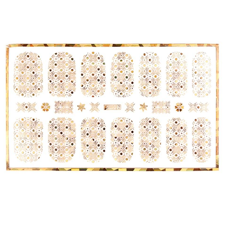Abtibild unghii cu modele aurii H002 imagine produs